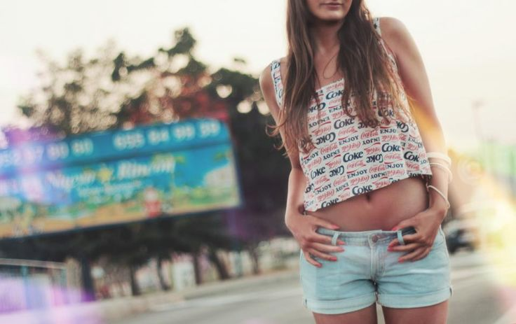 young, girl, fashion, jean shorts, tank top, long hair, brunette, cute, pretty, tummy