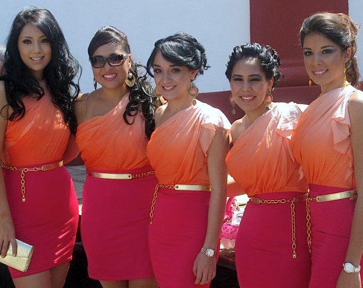 bridesmaids/bride/dresses/ombre/wedding/pink/orage/coral/fiusha/rosa/gold/belt/damas/degradado/trends/tendencias/2013/2014/www.joyfulevents.com.mx