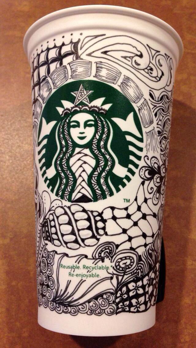Zentangle on a Starbucks coffee cup