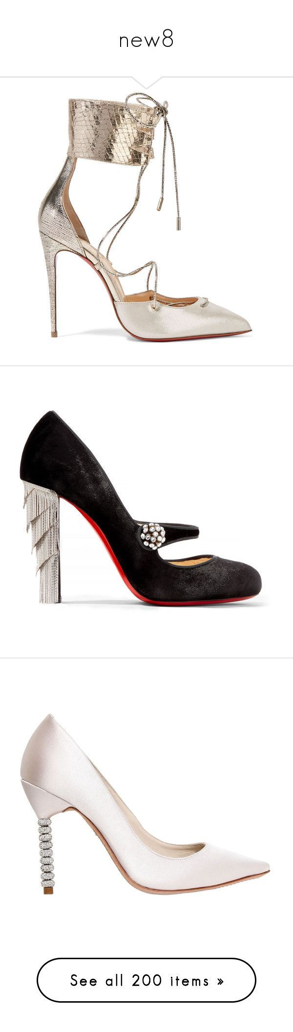 new8 by jojogena ❤ liked on Polyvore featuring shoes, pumps, heels, christian louboutin, sandals, christian louboutin shoes, evening shoes, metallic pumps, christian louboutin pumps and high heel stilettos