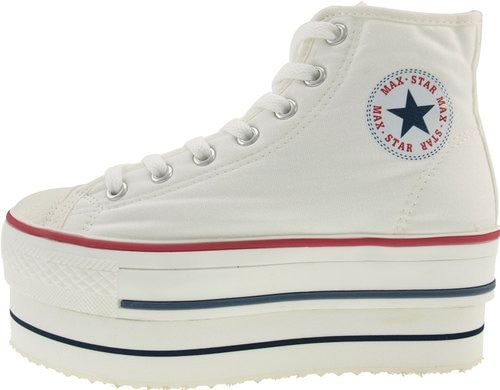 2f7aaa00c0b Maxstar Womens CN9 7 Holes Double Platform Canvas High Top Sneakers White-8