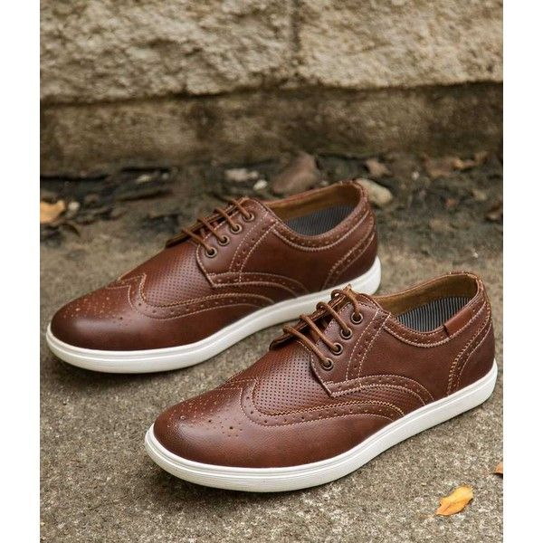 Steve Madden Ramsay Shoe - Brown US 8 ($48) ❤ liked on Polyvore featuring men's fashion, men's shoes, brown, mens shoes, mens wingtip shoes, mens leather shoes, mens brown wingtip shoes and steve madden mens shoes