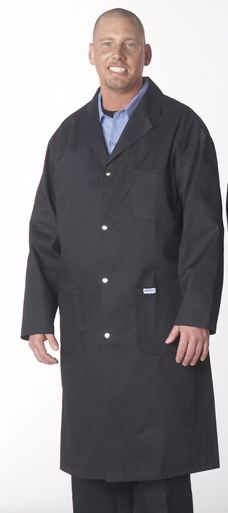 Shop Coat 7.5oz 65/35 poly-cotton :  Get the right Shop Coat for the job. This Snap Button Shop Coat keeps the dust off and has a professional appearance. Features 3 patch pockets as well as side access openings, centre back vent, dome closure and a handy penpocket on the left arm