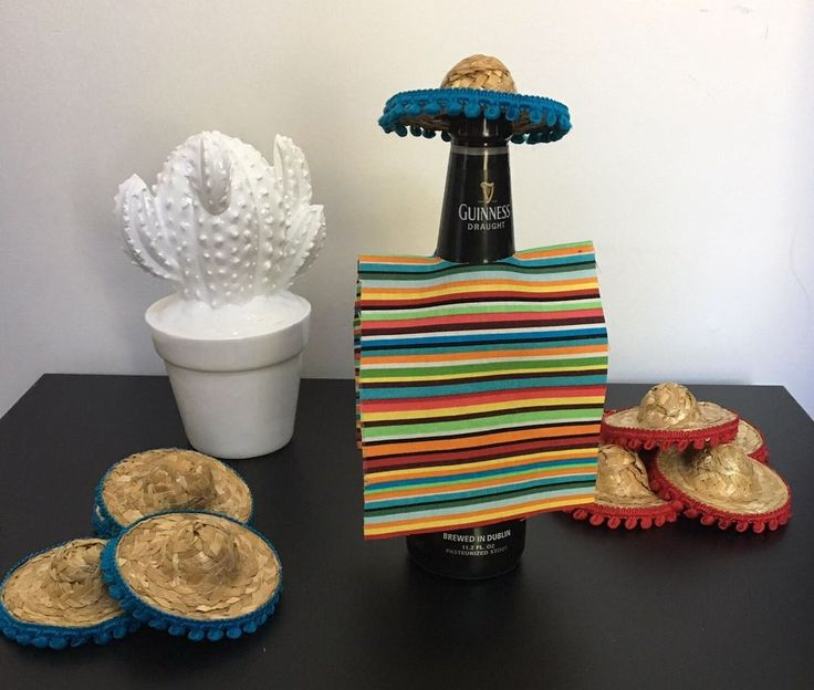 10 Serape Beer Koozie With Sombrero Hat. Fiesta. Mexican. Cinco De mayo. Party.  | eBay