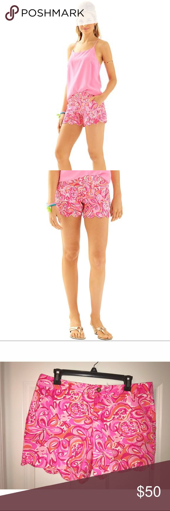 Lilly Pulitzer shorts 💞 Super cute Lilly Pulitzer Buttercup shorts that are brand new and with tags! Pink, orange and white pattern (Mango Salsa) with a scalloped hem. They will definitely add a much needed pop of color to any outfit ! Message if interested! 🌷 Lilly Pulitzer Shorts