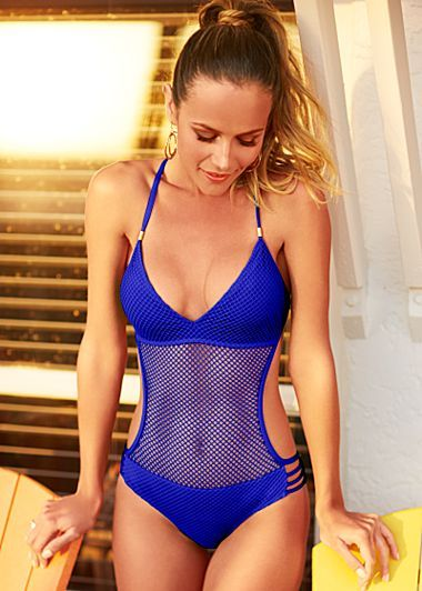 Cobalt Blue Fishnet One Piece Swimsuit Swimwear Beach