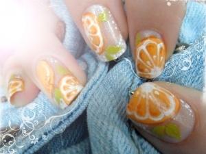 Very summery! :)Orange Slices, Nailart, Orange You Glad, Green Leaves, Summer Nails, Summer Fun, Orange Gardens, Orange Nails Art, Summer Ideas