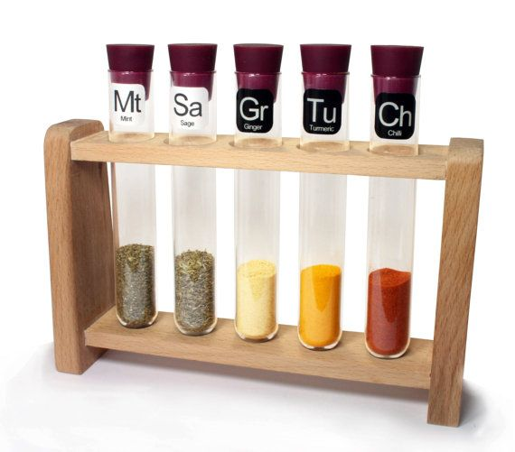 Test Tube Spice Rack Natural Purple by TGO2014 on Etsy - Love the idea and overall design!