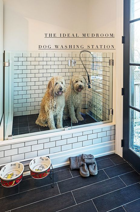 Mudroom + dog wash station! Perfect for washing muddy pups and boots... The tile makes for easy clean-up.