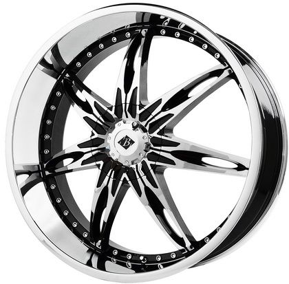 Black Ice Wheels VB10 Nocturno - 22 Inch 22x9.5 Chrome Wheels with Black Accents