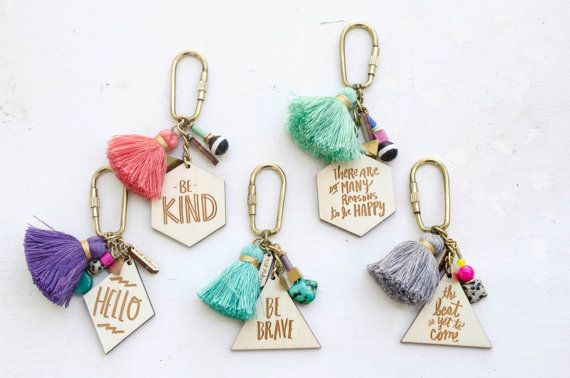 Charm, Quote and tassel Keychains - Double Sided, hand painted tassel geometric keychain, triangle, mother's day gift