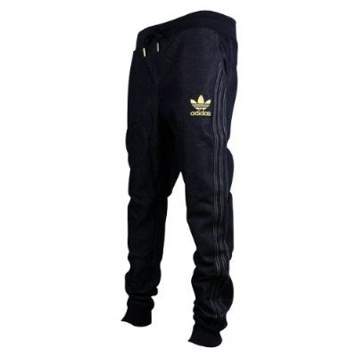 Mens Adidas Originals Cuffed Denim Blue Jeans Tracksuit Bottoms Pants  Joggers L