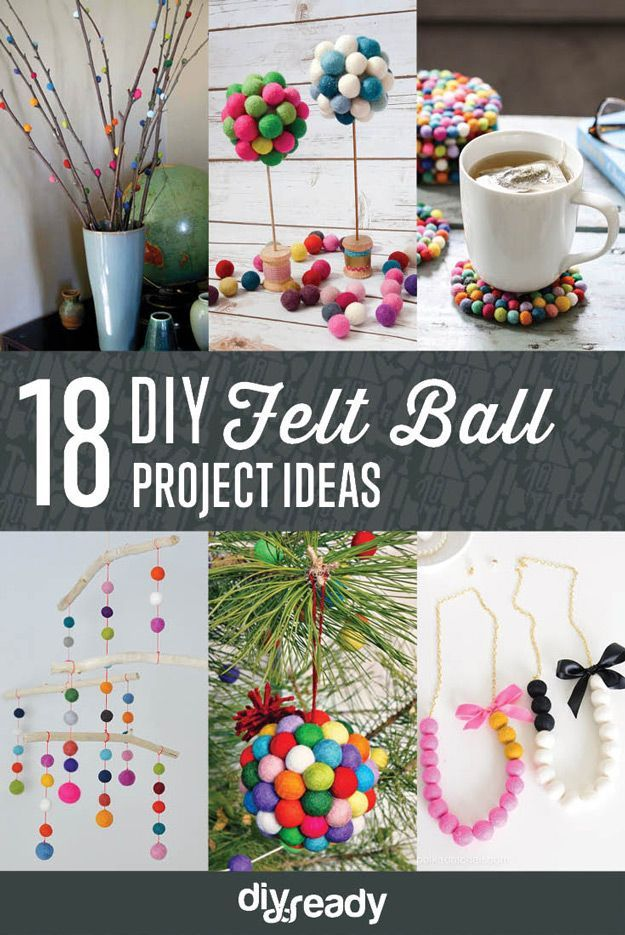DIY Felt Ball Project Ideas by DIY Ready at http://diyready.com/diy-projects-with-felt-balls/ ‎