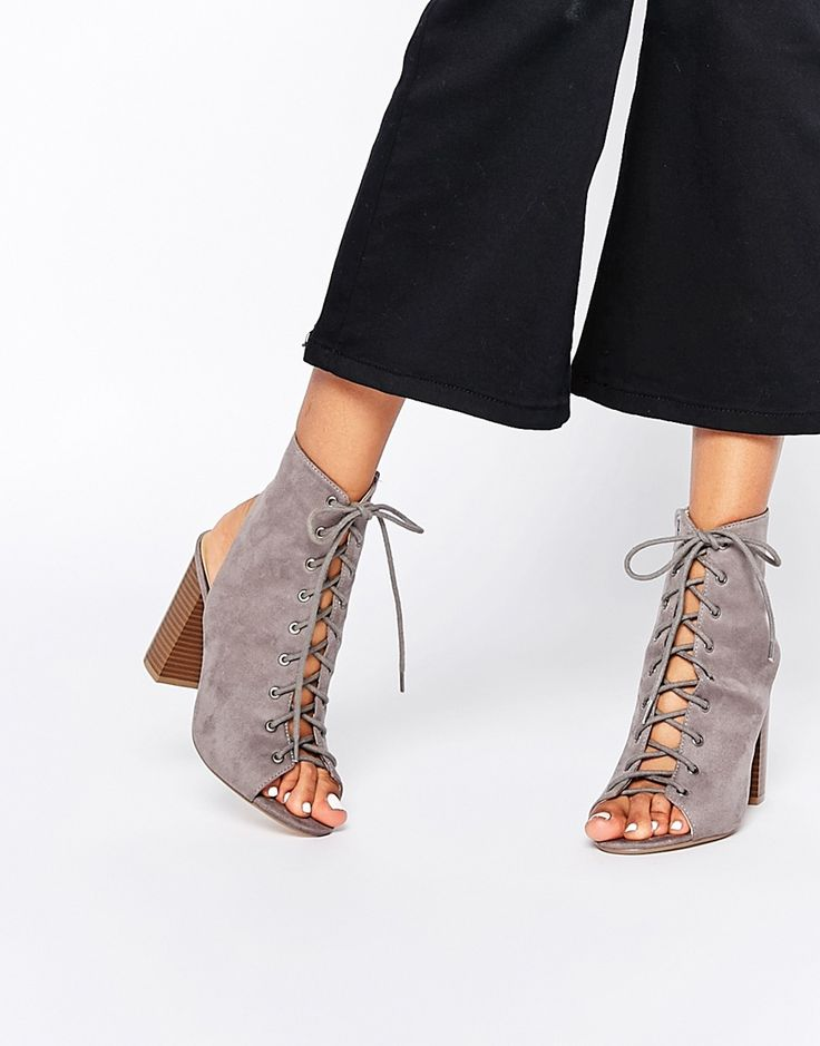 Image 1 ofMissguided Ghillie Shoe Boot With Block Heel