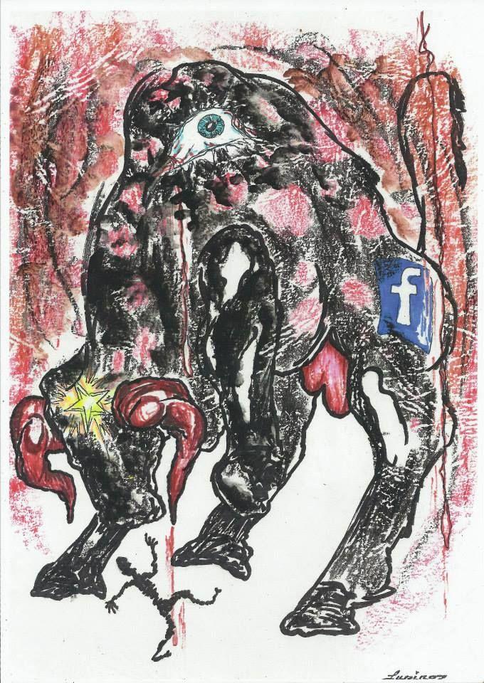 "Marian Lupu LUPINO -""Corida virtual violent""-graphics-29X21-100$-Email: mlupubm@yahoo.com"