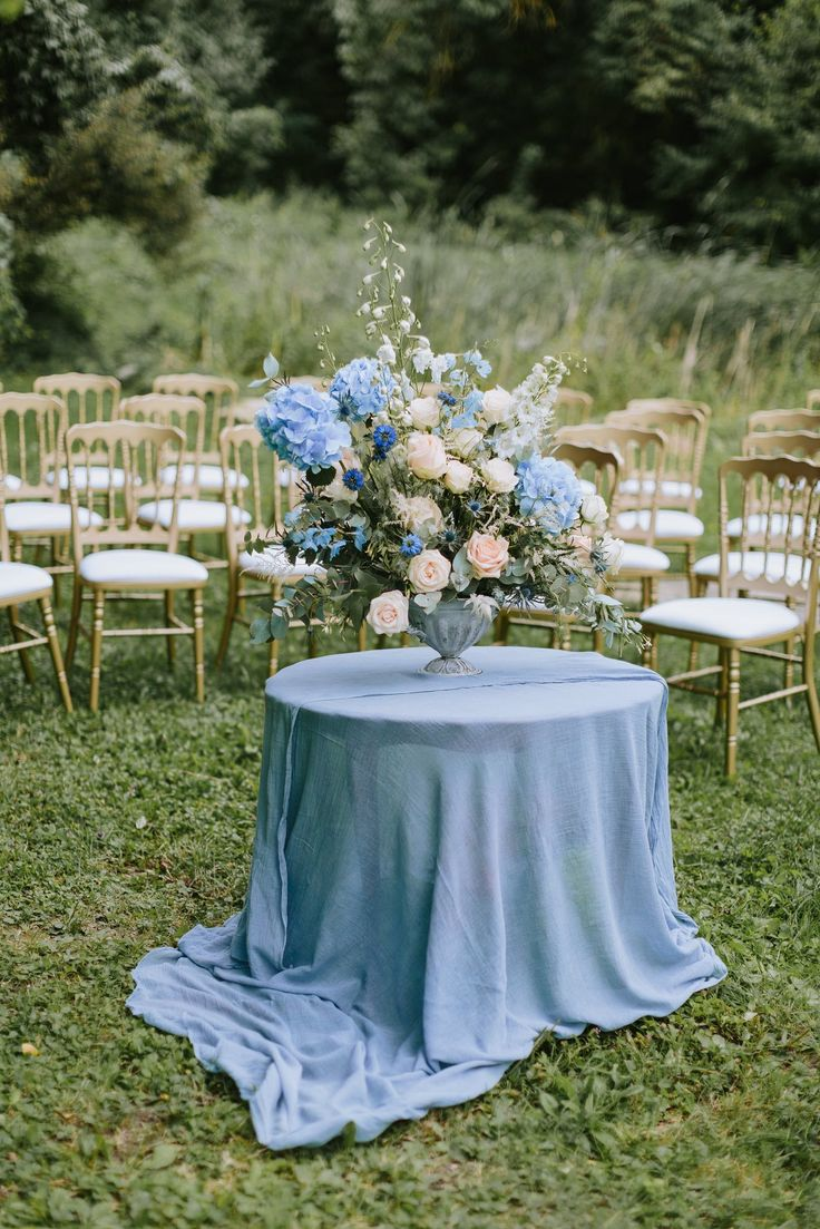 Outdoor Ceremony Floral Arrangement - Pastel Blue Outdoor Wedding in Germany Planned & Styled by A Very Beloved Wedding | Photography by Thomas Steibl