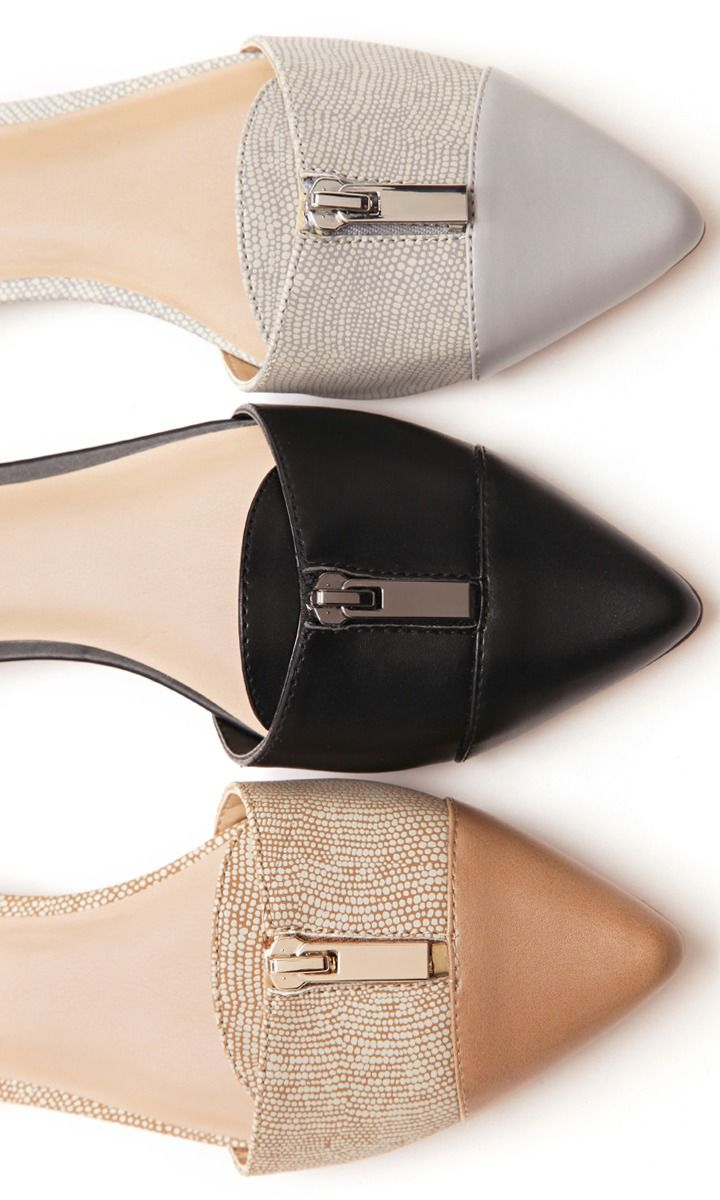 Work Wear: A two-piece flat with zipper and leather detailing. Easy for a Monday.