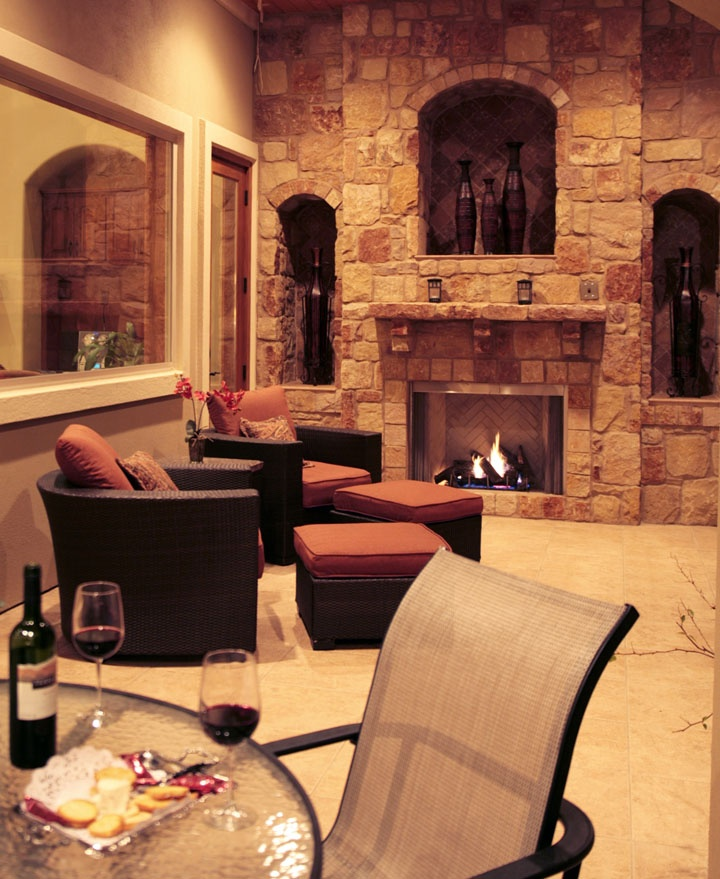 Outdoor Living with Stone Fireplace