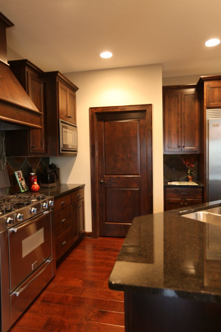 Interior Doors | dark stained Poplar kitchen with a 2 ...