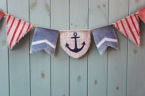 Nautical burlap bunting banner in blue and red - Rustic decorative bunting - Boy's birthday party photo prop
