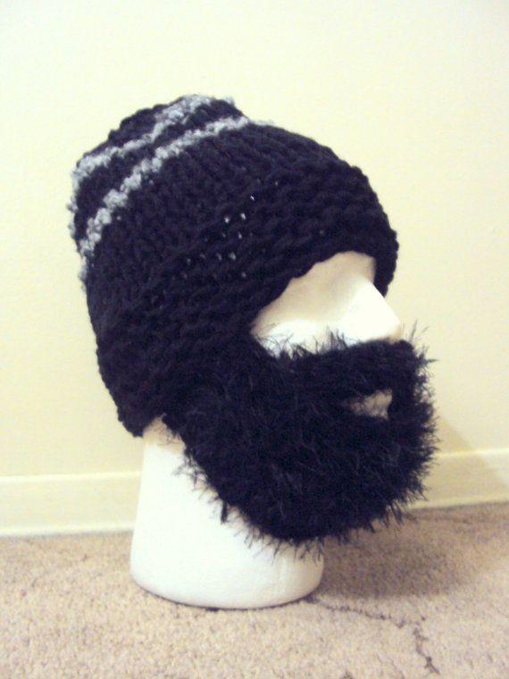 Mens Chunky Beard Hat Knit Beanie Face Mask Winter Hat Snowboard Hat Ski Hat  Hand ebbce37c04b