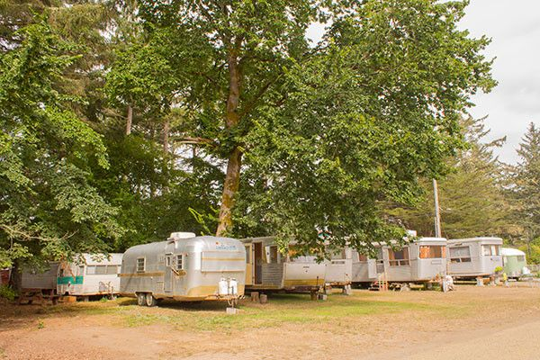 Vintage travel trailers at the Sou'Wester Lodge.