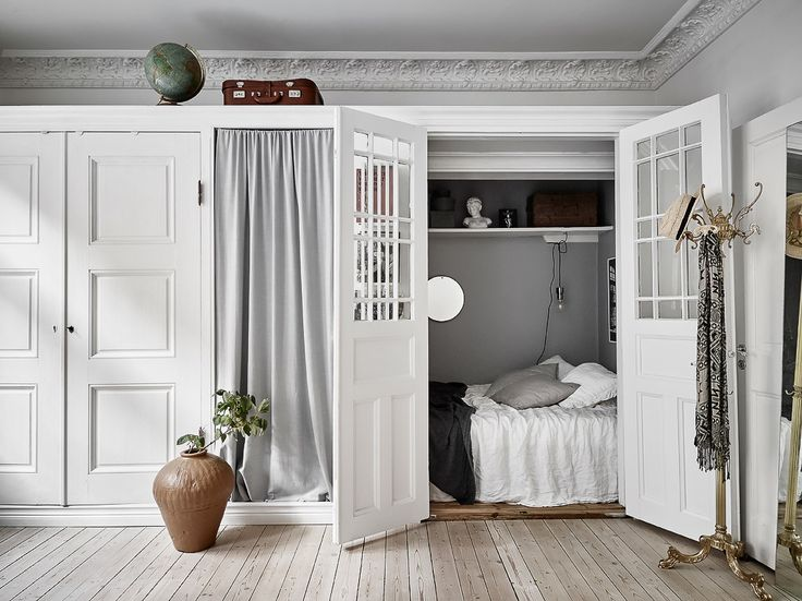 Closet turned into bedroom in a Scandinavian apartment | photos by Jonas Berg