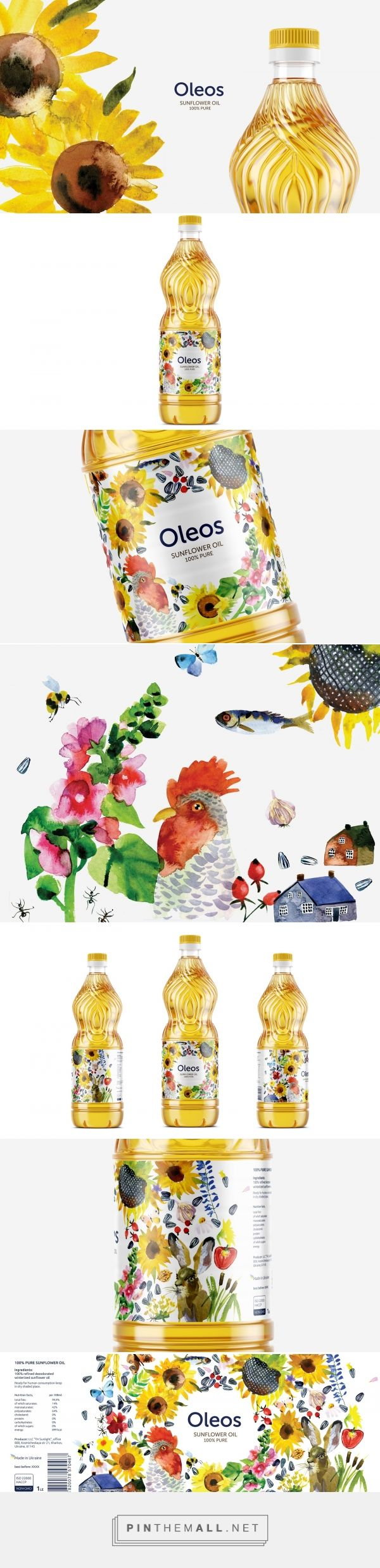 Oleos Sunflower Oil packaging design by GLAD HEAD - http://www.packagingoftheworld.com/2016/10/oleos-sunflower-oil.html
