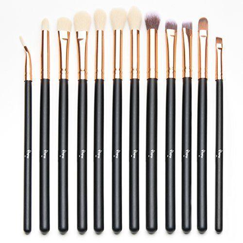Qivange Kit de brosse à yeux Kit de pinceau de maquillage avec poche (12pcs Rose Gold): Ce brosse à yeux inclut les pinceaux d'ombre, les…
