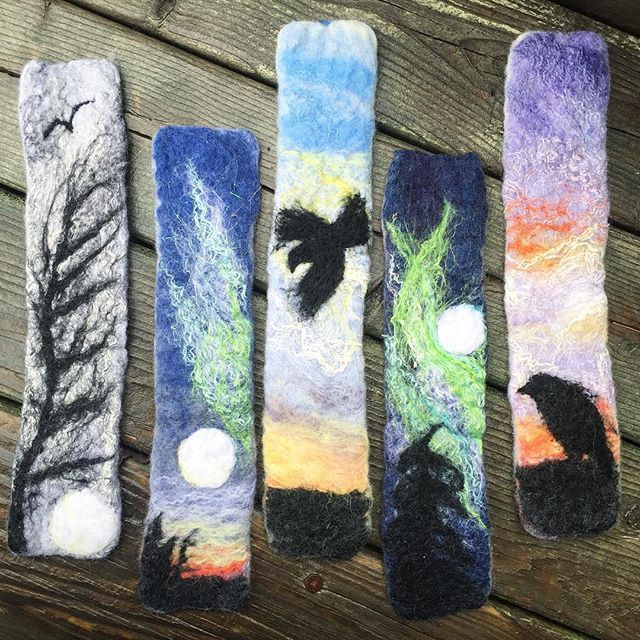 Some of the Northern Bookmarks that are heading up North today. #Yellowknife #spectacularnwt #northerncanada #naturelover #natureart #ravens #feltedart #merino #wool #needlefelted #bookmarks #booklover #booklovers #bookporn #bookclub #northernlights #etsyseller #etsyca #etsy