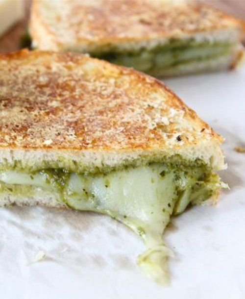Pesto grilled cheeses, Pesto and Grilled cheeses on Pinterest