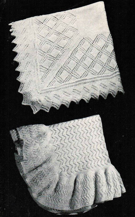 Vintage Knitting Pattern Baby Blanket : Vintage Baby Shawl Patterns PDF (set of 2) / Monarch Baby Blanket patterns / ...
