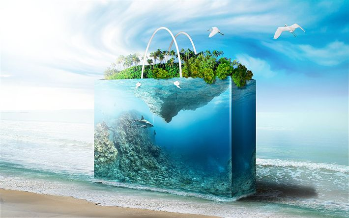 Download wallpapers Bag, sea, 3d art, coast, underwater world, shark, tropical island, seagulls, travel, summer, beach