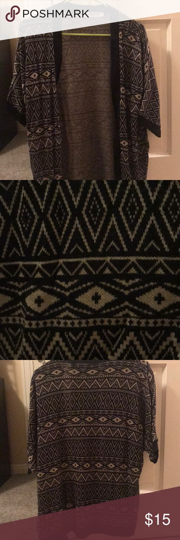 Short sleeve cardigan Black/tan short sleeve cardigan with Aztec print Cotton Emporium Sweaters Cardigans
