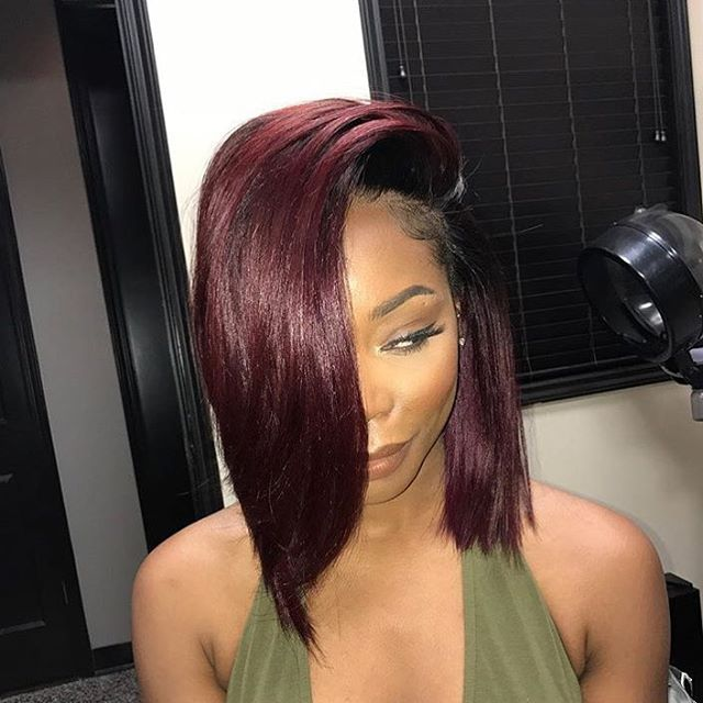 This color and install is just gorgeous @shivonnejxperience ✂️ Red wine #voiceofhair========================== Go to VoiceOfHair.com ========================= Find hairstyles and hair tips! =========================