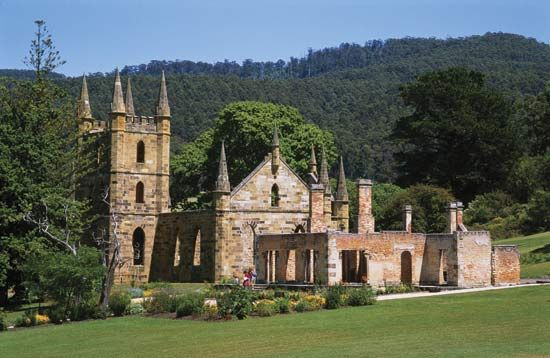 Ruins at Port Arthur in Tasmania, Australia. During the 1800's convicts were sent here to work.  You may run into a couple of ghosts here.