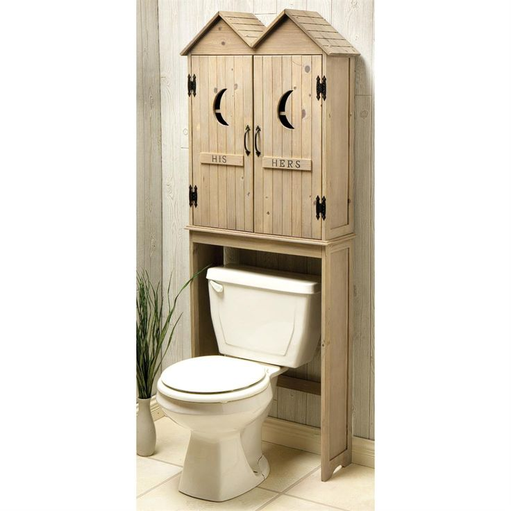 Bathroom storage with a helping of humor outhouse space for Space saving bathroom storage