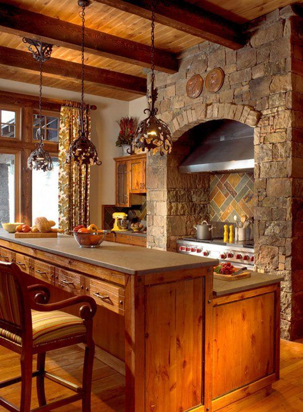 As cozinhas rústicas em Mountain Homes-45-1 Kindesign