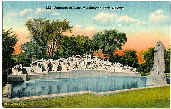 Vintage Chicago Postcard -- The Fountain of Time in Washington Park ~~~ The VintagePlum Shop on Etsy ~~~ #vintage #chicago #postcard #fountainoftime #washingtonpark #art #sculpture #loradotaft #parkdistrict #illinois #1940s