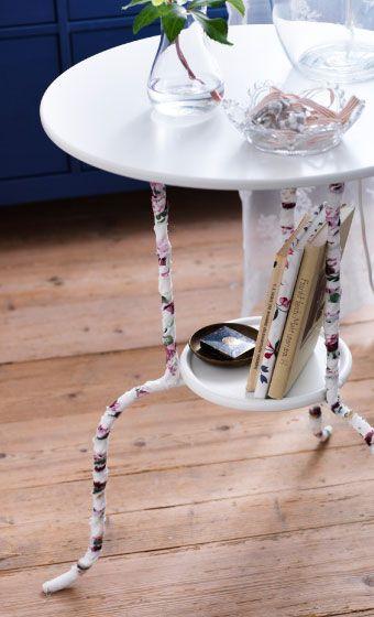 IKEA Österreich, Inspiration, Textilien, Bunte Stoffreste, die um die Beine von LINDVED Beistelltisch in Weiß gewickelt sind
