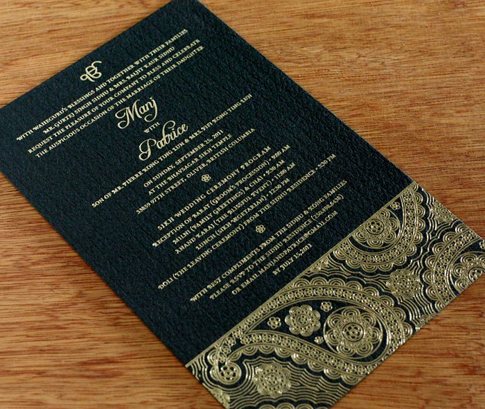 foil stamping, foil letterpress invitations by invitations by ajalon