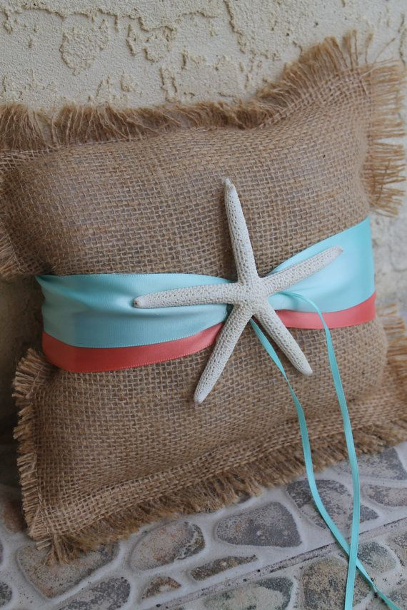9x9 burlap ring pillow with 2 coordinating by XoXoBeachWeddings, $38.00