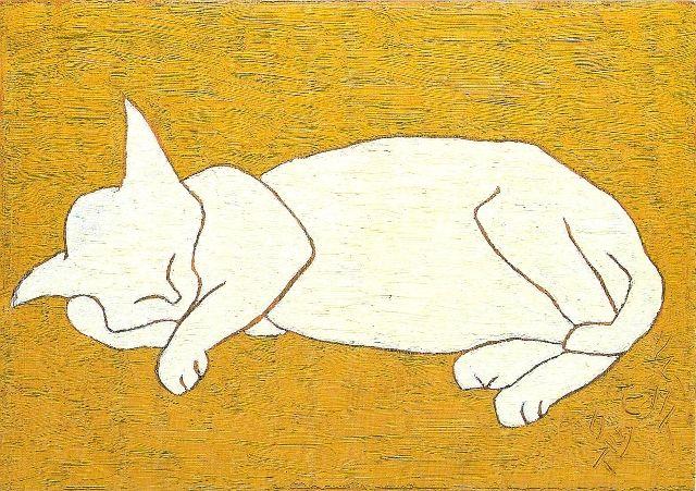 Morikazu Kumagai [熊谷守一] (Japan, 1880-1977) - White Cat, 1959.