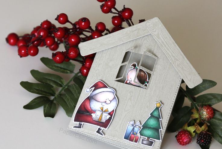 "mftstamps ""Jingle All The Way"" Handmade shaped Christmas card with girl watching Santa as he leaves gifts under the tree"