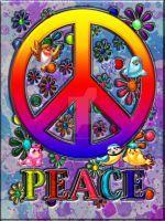 Modern Retro Peace Sign Text Birds Flowers by BlakeHenryRobson