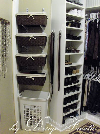 On the short wall of closet, install metal brackets and stack baskets to store seasonal items.  Rotate baskets down to the bottom as the seasons change, to have easy access to the things you need when you need them.