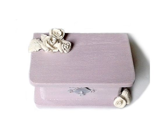 Purple RING BOX white Rose Wedding ring Box with by PilipArt, $34.00