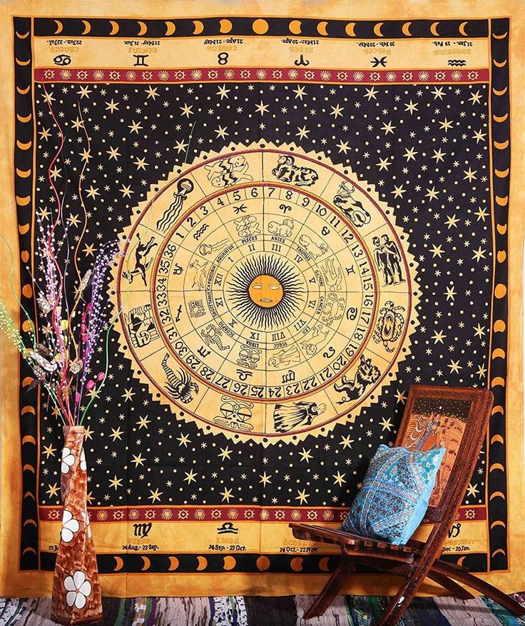 Indian Tapestry Wall Hanging Mandala Throw Hippie Horoscope Zodiac Astrology New #Handmade #Traditional #BedspreadBedsheetWallHanging