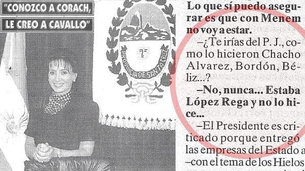 Cristina Kirchner, en la revista Ahora del diario Crónica del 18 de mayo de 1997, apoyando a Domingo Cavallo y asegurando que nunca se iría del PJ.