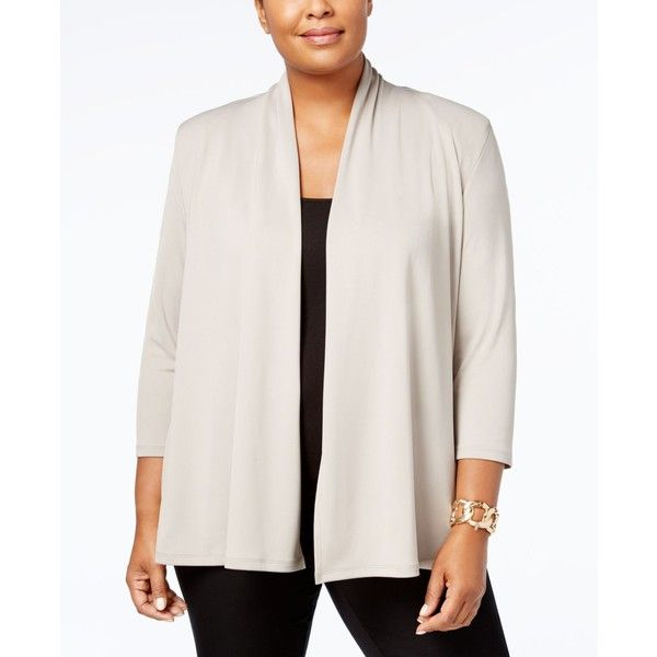 Kasper Plus Size Shawl-Collar Blazer (60 CAD) ❤ liked on Polyvore featuring plus size women's fashion, plus size clothing, plus size outerwear, plus size jackets, plus size blazers, clay, women's plus size jackets, drapey blazer, draped jackets and draped blazer